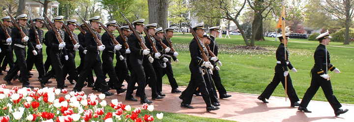 Mids marching in a parade